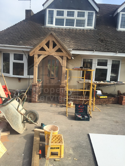 New front doorway with gabled canopy porch photo 10