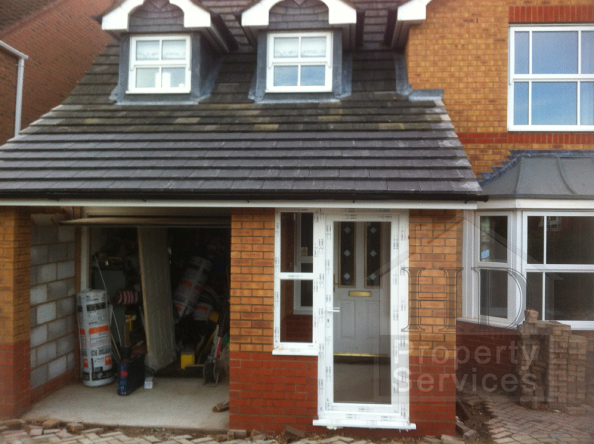Single storey porch and garage extension photo 11
