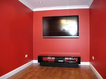 Garage interior after conversion to a home cinema