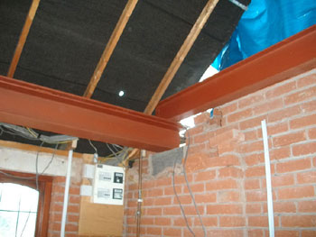 Inserting four floor supporting RSJs