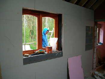 Inserting the bedroom window - an exact match to the rest of the existing windows in the house