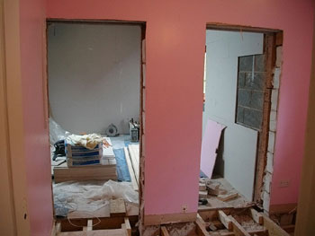 View into the garage extension from existing bedroom & landing