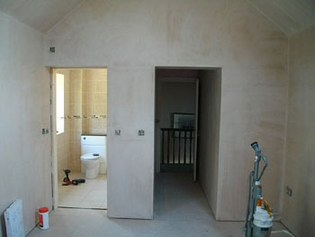 The plastered new bedroom ready for decorating