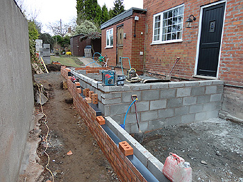 Brickwork above damp proof course