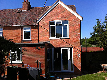 Completed rear elevation of the two storey side extension