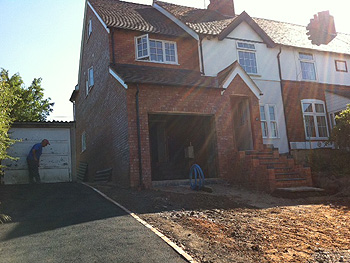 Completed front elevation of the two storey side extension