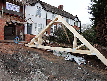 The roof trusses arrive