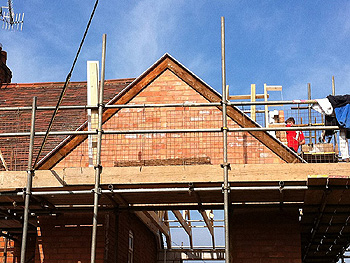 Completed brickwork on the gable end