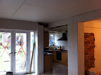 Plaster boarding of the new living space